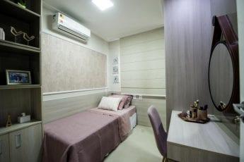 Foto do quarto do menina do apartamento decorado.