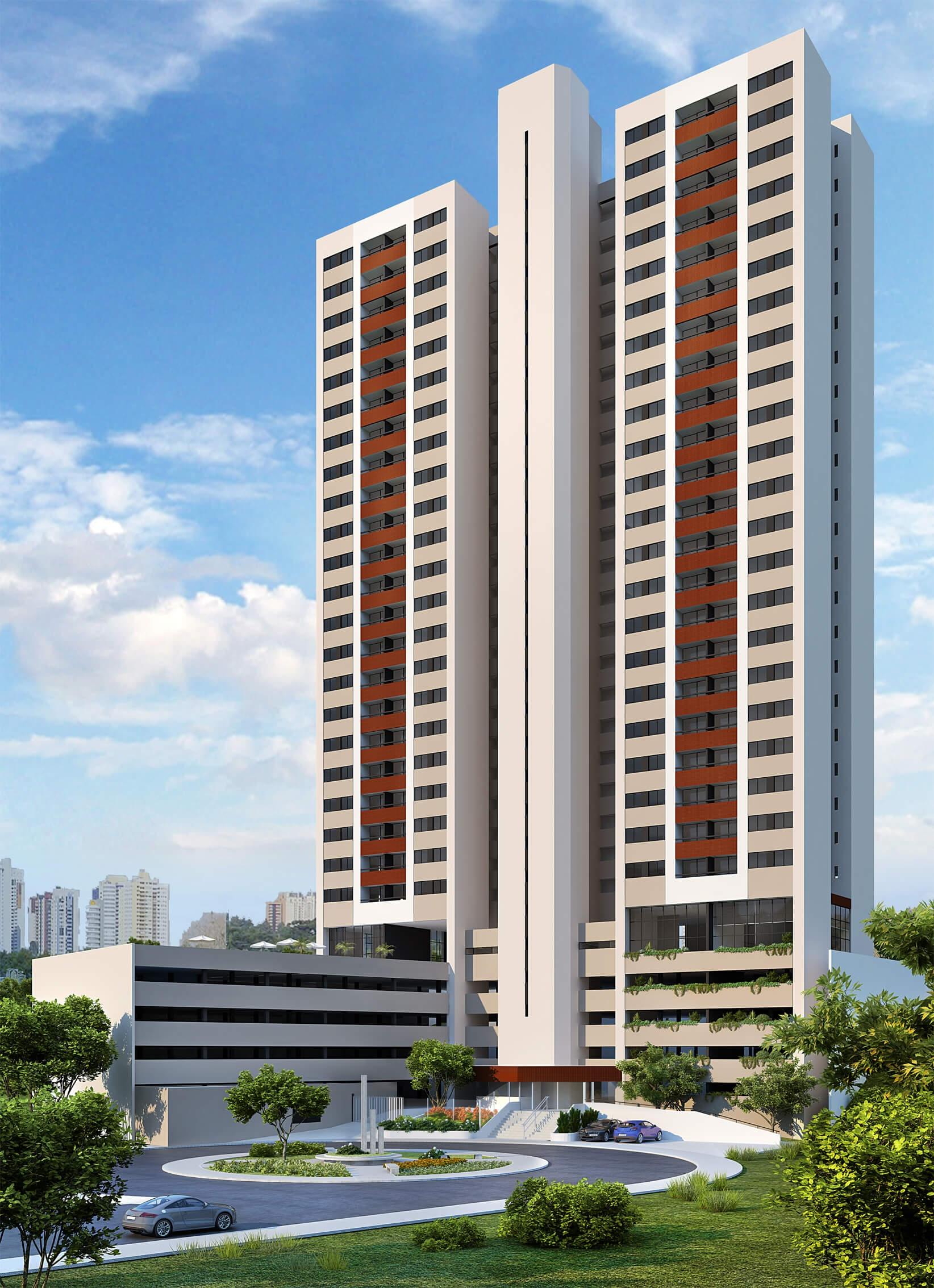 Perspectiva da fachada do GRAN Reserva Alto do Imbuí
