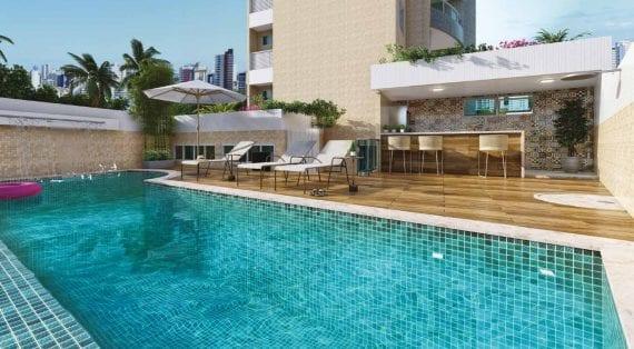 Perspectiva da piscina adulto e infantil com deck e bar do Cenarium Residencial