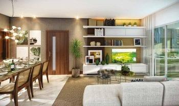 Perspectiva das salas de estar e jantar do Cenarium Residencial
