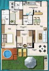 Planta baixa do apartamento Tipo de 3 quartos com suíte.