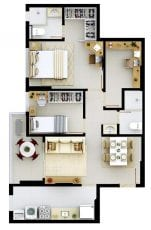 Planta baixa do apartamento tipo 2 quartos do Residencial Mykonos