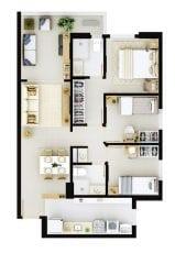Planta baixa do apartamento tipo 3 quartos do Residencial Mykonos