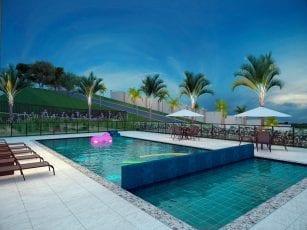 Perspectiva da piscinas adulto 2 e infantil do Spazio Mirante do Iguatemi