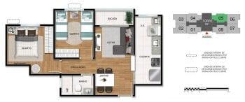 Planta baixa do apartamento de 2 quartos - 2ª opção.