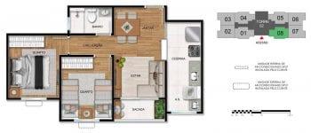 Planta baixa do apartamento de 2 quartos - 3ª opção.