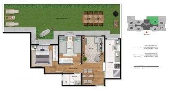 Planta baixa do apartamento 2 quartos com área privativa - 1ª opção.
