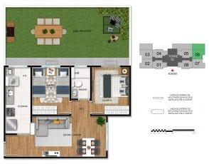 Planta baixa do apartamento de 2 quartos com área privativa - 2ª opção.