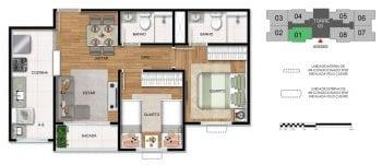 Planta baixa do apartamento 2 quartos com suíte.