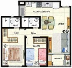Planta baixa do apartamento tipo 2 quartos do Villa Vita Residencial