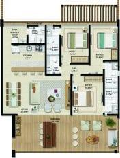Apartamento Superior Plano - 124,02 m2 - 3 suítes
