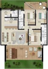 Apartamento Térreo A - 126,37 m2 - 3 suítes