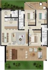 Apartamento Térreo B - 129,51 m2 - 3 suítes