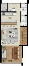 Duplex A - 115,51 m2 - 3 suítes - Pavimento Inferior