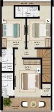 Duplex A - 115,51 m2 - 3 suítes - Pavimento Superior