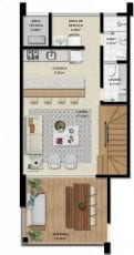 Duplex B - 116,63 m2 - 3 suítes - Pavimento Inferior
