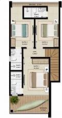Duplex B - 116,63 m2 - 3 suítes - Pavimento Superior