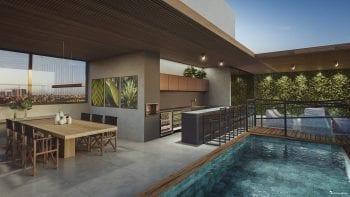 Perspectiva do Rooftop com espaço gourmet, academia.