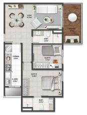 Planta baixa do apartamento tipo 2 quartos de 70,11m².