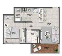 Planta baixa do apartamento tipo Quarto e Sala de 50,18m².