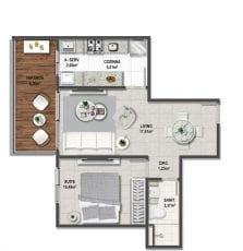 Planta baixa do apartamento tipo Quarto e Sala de 56,35m².