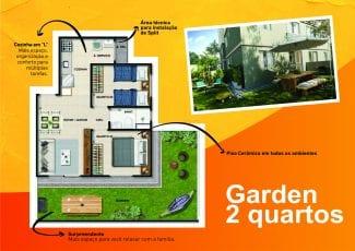 Planta baixa do apartamento tipo garden de 2 quartos