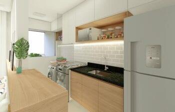Perspectiva da cozinha com área de serviço.