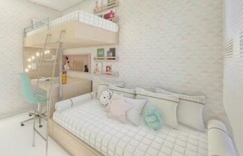 Perspectiva do quarto infantil do Residencial Ilha de Maiorca.