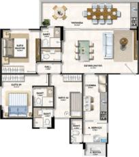 Planta Baixa do apartamento de 3 suítes.