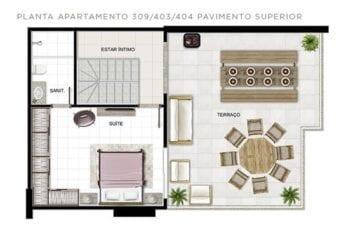 Planta baixa do apartamento Tipo 309, 403, 404 - Piso superior.