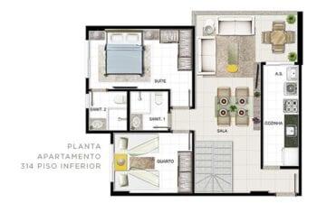 Planta baixa do apartamento Tipo 314 - Piso inferior.