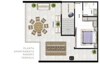 Planta baixa do apartamento padrão - Terraço.