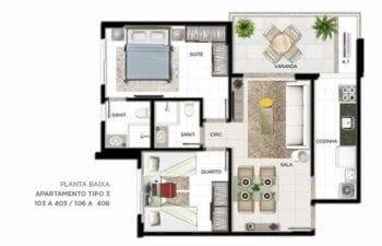 Planta baixa do apartamento Tipo 2 quartos.