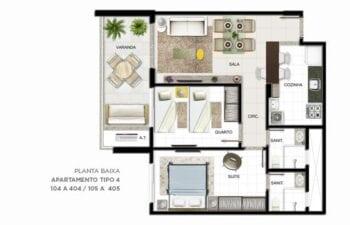 Planta baixa do apartamento Tipo 4 quartos.