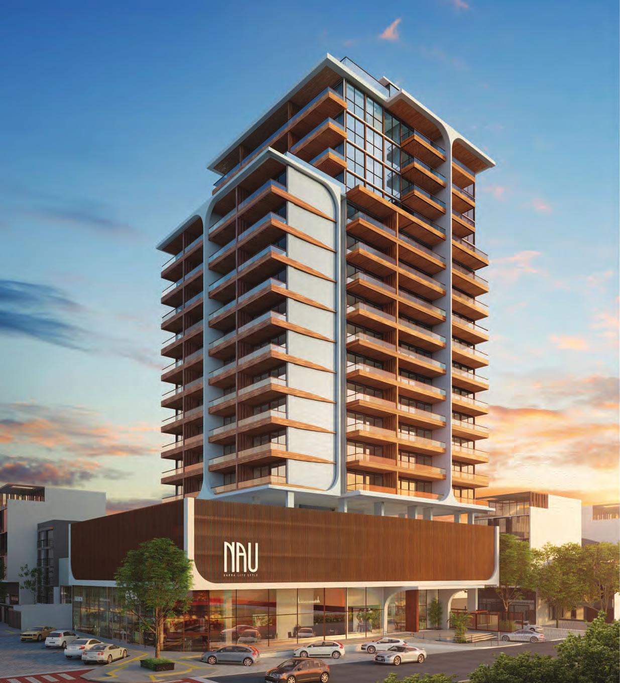 Perspectiva aérea da fachada do NAU Barra Life Style.