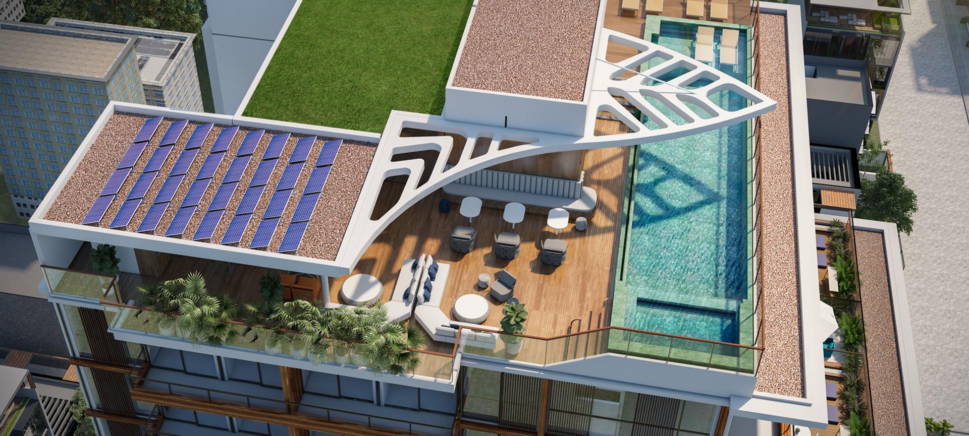 Perspectiva aérea do Rooftop com Espaço Gourmet.