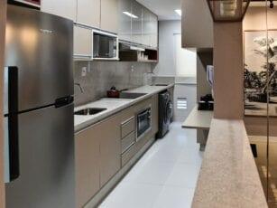 Perspectiva da cozinha do Residencial Ilha de Creta.