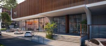 Perspectiva da fachada com saída para a Rua Alfredo Magalhães do NAU Barra Life Style.