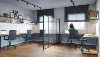 Perspectiva da sala de trabalho climatizada do Residencial Ilha de Creta.