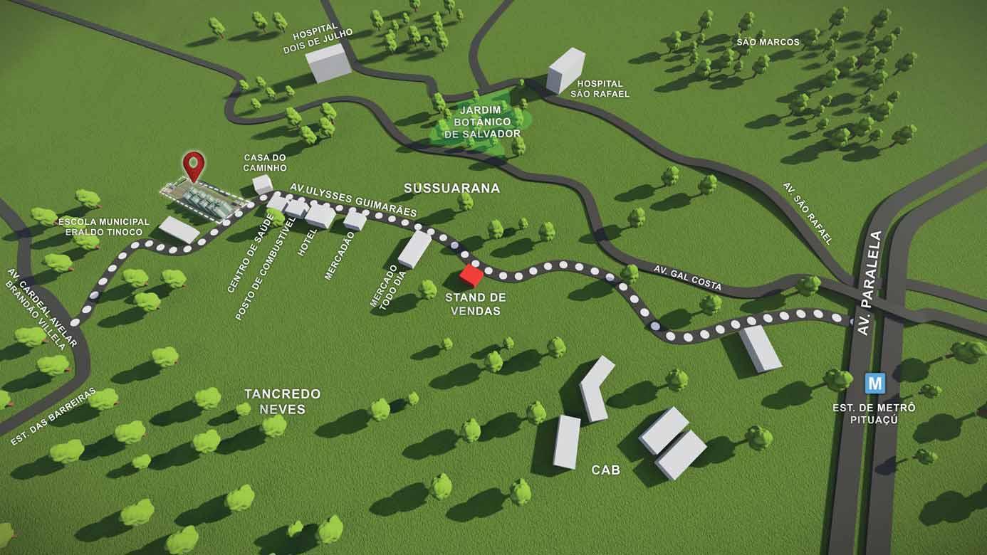Perspectiva do mapa de localização do Residencial Vivver Ulysses