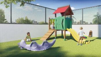 Perspectiva do parque infantil do Residencial Ilha de Creta.