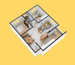 Planta baixa 3D do apartamento tipo 1 - A.