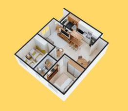 Planta baixa 3D do apartamento tipo 1 - B.