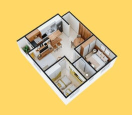Planta baixa 3D do apartamento tipo 1 - C.