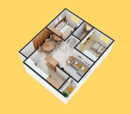 Planta baixa 3D do apartamento tipo 1 - D.