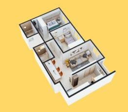 Planta baixa 3D do apartamento tipo 2 - A.