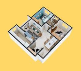 Planta baixa 3D do apartamento tipo 3 - A.