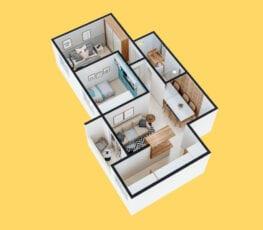 Planta baixa 3D do apartamento tipo 4 - B.
