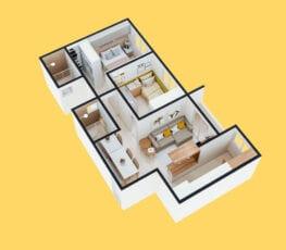 Planta baixa 3D do apartamento tipo 5 - A.