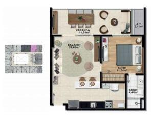 Planta baixa de 1 quarto com suíte e varanda com 59,12 m² de área privativa